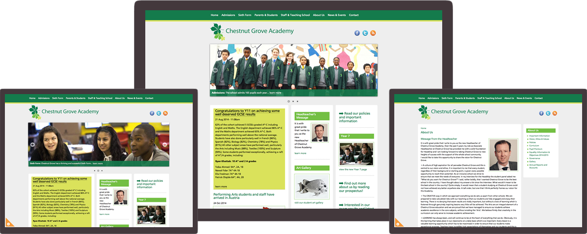 Chestnut Grove Academy website on different devices