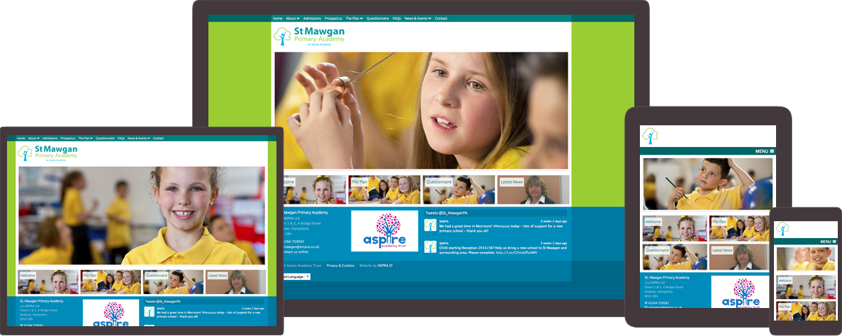 St Mawgan Primary Academy website on different devices