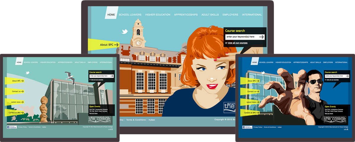 Bournemouth & Poole College website on different devices