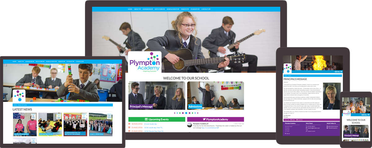 Plympton Academy website on different devices